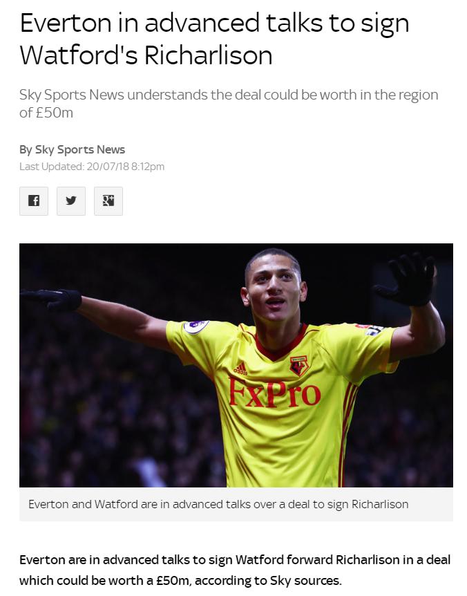 埃弗顿接近以5000万英镑的价格签下沃特福德边锋理查利森.