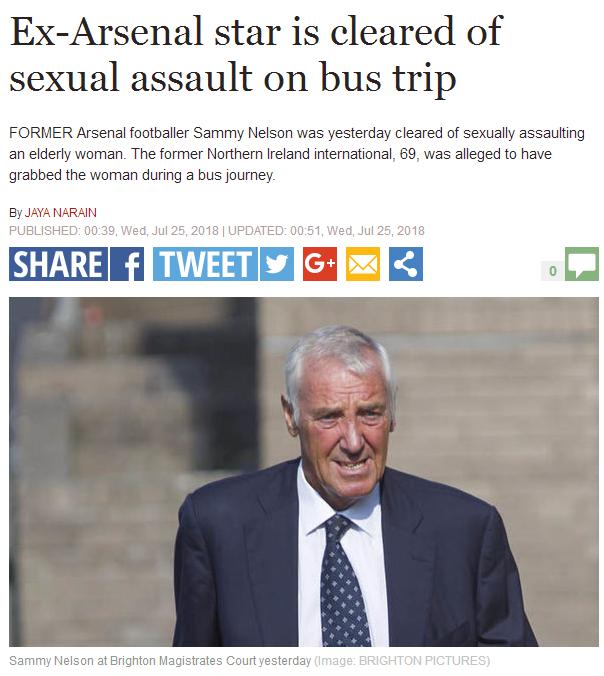 公交车上性骚扰75岁妇女 前阿森纳球星被法院起诉