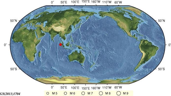 印尼苏门答腊岛北部发生5.7级地震 震源深度10千米