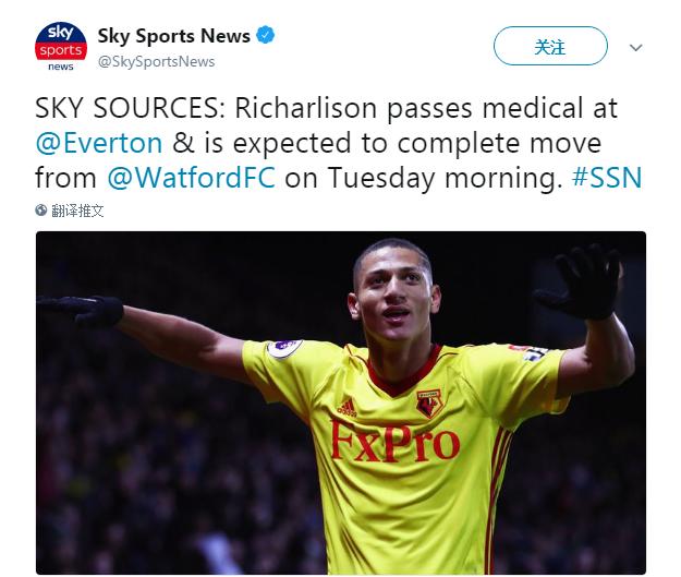 """天空体育发文表示:""""理查利森已经通过了体检,他从沃特福德转会"""