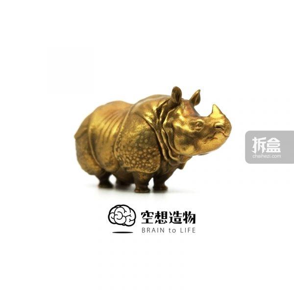 空想造物 不二马大叔 小小动物园 黄铜 犀牛,河马雕像