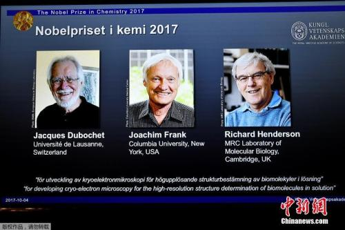 2017年诺贝尔化学奖公布。