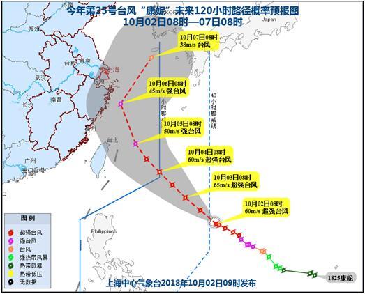 """""""康妮""""升级为超强台风 或于6日前后在浙江近海转向"""