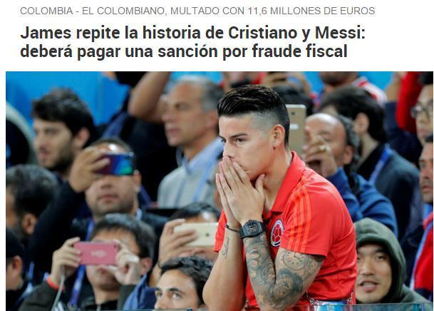 梅西C罗后,西班牙税务局盯上J罗 或罚款1650万欧