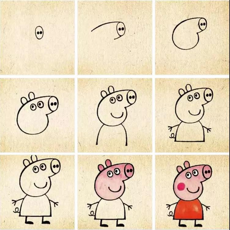 小猪佩奇简笔画教程.