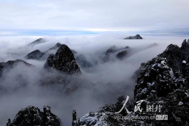 5.2019年1月2日,雪后黄山风景区出现唯美壮观的云海.