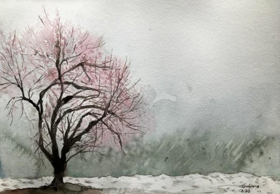 朱艳宁水彩画:波密大雪纷飞中的一树野桃花(受访者 供图)